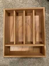 5 Compartment Wooden Kitchen Cutlery Utensil Drawer Tray Storage Box