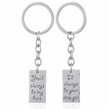 2 PC DADDY'S LITTLE GIRL FATHER DAUGHTER HERO KEY RING CHAIN PENDANT SET #KC59