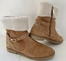 TOMMY HILFIGER Women Suede Boots 10 Brown Booties Sherpa Lined Zip Ankle Strap