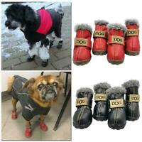 1set Warm Pet Dog Cat Winter Shoes Non-slip Boots For puppy Black/Red S4N1