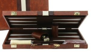 "Backgammon with Tan Coloured Vinyl Case 15"" Inch"