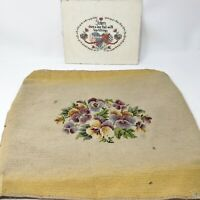 Vintage Needlepoint Stool / Chair Floral Cover Counted Cross Stitch Sister Pictu