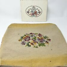 Vintage Needlepoint Stool / Chair Floral Cover Counted Cross Stitch Sister Pic