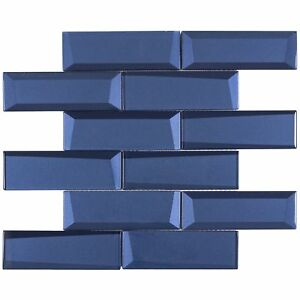 Modern Subway Blue Glossy Glass Mosaic Tile Backsplash Kitchen Wall MTO0156