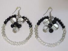 Fashion Round Circle Hoop Earrings Crystal & CCB Beaded Dropped W/ Cluster Drop.