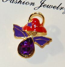Red Hat Angel Pin - Large Goldtone w Purple & Clear Gems / NWT