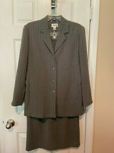 Womans Talbots Gray w/Pinstripes  Skirt Suit  - Size 8