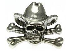 "(#058) SKULL CROSS BONE COWBOY Pewter Vest / Hat Pin 1.25"" x 1.25"" Biker cap Hat"