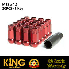 STEEL Lugs 20pcs+1KEY M12x1.5 Extended Wheel Lug Nuts Red 48MM Fit Honda Acura