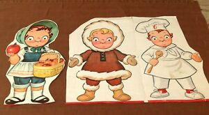 Collection of 3 Vintage 1950's Large Paper Campbell's Soup Rosy Cheek Kids