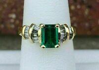 2Ct Emerald Cut Green Emerald Women's Engagement Ring 14K Yellow Gold Finish
