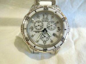 Citizen Eco-Drive womens white ceramic chronograph FB1230-50A