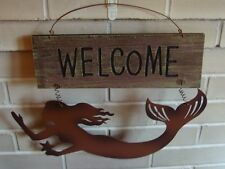 New listing Large Wood Slat Beach Welcome Rustic Mermaid Metal Sculpture Sign Home Decor New
