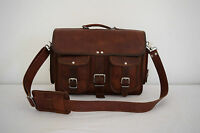 """15"""" Real Brown Leather Briefcase Macbook Laptop Satchel Office Bag Eco-Friendly"""