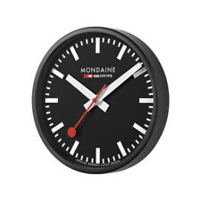 Mondaine A990.CLOCK.64SBB Wall Clock Black Dial Black Frame, Quartz