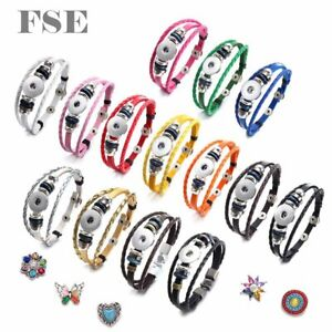 10pcs Multi 18mm Snap Charms Leather Bracelet 18mm Snap Button Snap Jewelry 0578