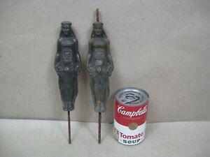 Antique 2 Figurals Women Bronze Brass Oil Lamp Egyptian? Toppers Breaks Stems