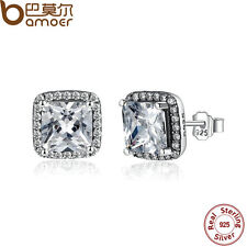 Bamoer Solid S925 Sterling Silver Stud Earrings Elegance with Clear CZ For Women