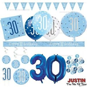 Blue 30th Birthday Party Decorations Supplies Boys Mens Balloons Banners AGE 30