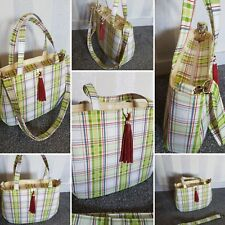 Handmade Handbag/Shoulder Bag/Top Handle Bag. Green Tartan/Check Fabric.