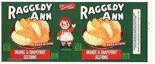 RAGGEDY ANN Brand, Citrus Fruit, Doll, **AN ORIGINAL TIN CAN LABEL**