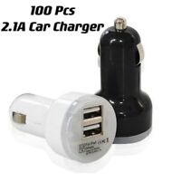100x Dual USB Car Charger 2.1 Amp High Speed Fast For All iPhone Samsung HTC LG