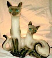 VTG MCM RETRO LANE TV LAMP CERAMIC SIAMESE CATS JEWEL EYES 1958 CALIFORNIA USA