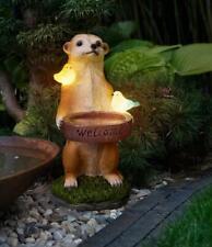 Solar Erdmännchen Figur außen Garten Tier beleuchtet Kunststein Deko (Tränke)