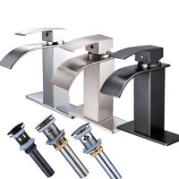 Bathroom Basin Faucet Sink Waterfall Spout Mixer  Tap Basin Single Hole