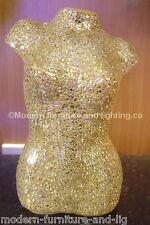 MIRRORED GOLD MOSAIC TORSO TABLE LAMP, LADY TORSO LAMP, MOSAIC GOLD GLASS  LAMP
