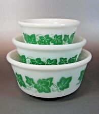 "Vintage Hazel Atlas pattern English IVY Nesting 3 Bowls set - 7"" - 6"" - 4¾"""