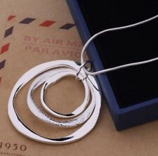925 STESterling Silver Classic Large Round Pendant Necklace Chain  Jewlery Gift