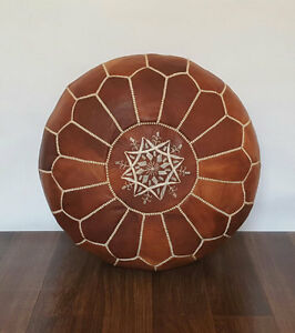 Moroccan Leather Ottoman Pouffe Pouf Footstool In Mid Tan