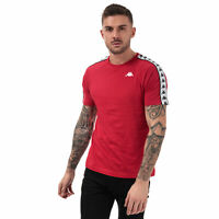 Mens Kappa Coen Banda T-Shirt In Red White- Ribbed Crew Neck