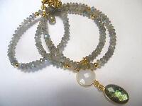 Labradorit Collier, Mondstein + Labrad. Anh., 925 Silber vergoldet