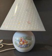 Disney Winnie the Pooh Round Ceramic Nursery Lamp w Shade Pink Blue Butterflies