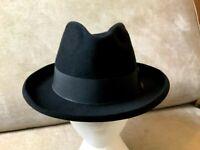Belgian 1930s Homburg BRUMMELS Size 7 3/8 Vintage Wide Brim Black Hat BRUSSELS