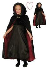 Kids Child Witch Halloween Costume Hooded Gothic Vampiress Cape Black