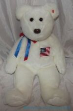 "2000 Ty Buddy Plush 14"" Snowy White Patriotic Libearty The Bear w/Usa Flag Patch"