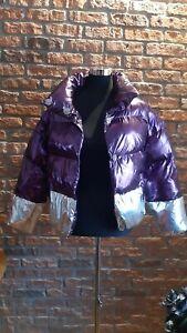 Jacke metallisch Lila Silber Größe L, Style-Daunenjacke