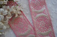1y FANCY PINK SILVER METALLIC BROCADE JACQUARD RIBBON TRIM VINTAGE SHABBY FRENCH