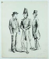 Vintage Original US Retinue Cutter Military Uniform Capeland Art Ink Pen Drawing