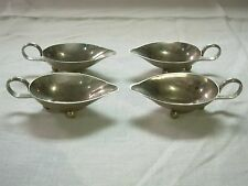 4 VINTAGE MADE IN ITALY ALPACCA SILVER INDIVIDUAL AU JUS SAUCE GRAVY BOATS