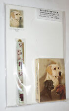 Yellow Black Chocolate Labs Gift Set Deck of Cards Roller Pen Paper Pad Dogs New