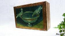 Vtg. Florentine Italy Wooden Bathing Birds Mosaic Art Trinket Box 4X6X2