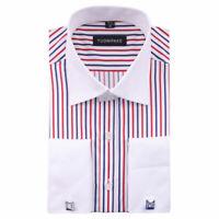Mens Dress Shirts Luxury Slim Fit French Cuff The White Collar Striped EK6398B