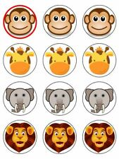 """12 JUNGLE ANIMALS 2"""" CUPCAKE EDIBLE ICING IMAGE CAKE TOPPERS #4"""