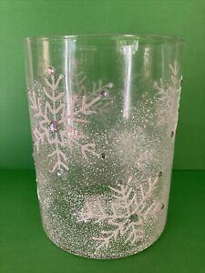 Bath & Body Works Snowflake & Rhinestones Glass 3 Wick Hurricane Candle Holder