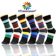 6 Pairs Ydst3 New Cotton Men Striped Style Dress Socks Size 10-13 Multi Color