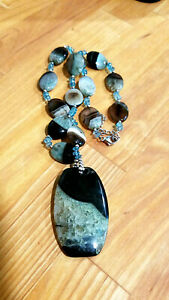 Vintage LUC 925 and Agate Necklace & Pendant